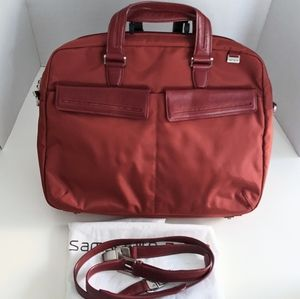 Tumi Nylon Leather Red Laptop Briefcase Work bag